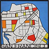 "Amazon Brand – Rivet Pop Art Print of San Francisco in Primary Colors Modern Wall Art, 26"" x 26"""