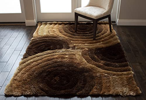 Light Brown Dark Brown Colors 8×10 Feet 3D Carved Pattern Modern Contemporary Decorative Designer Bedroom Living Room Office Space Area Rug Carpet Hand Woven Shag Shaggy Plush Pile Fluffy Fuzzy Furry
