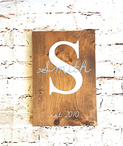 Amazon.com: Personalized wood sign, Monogrammed wall art, 9x14 ...