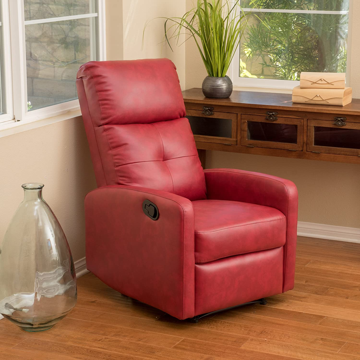 Amazon Teyana Red Leather Recliner Club Chair Kitchen & Dining