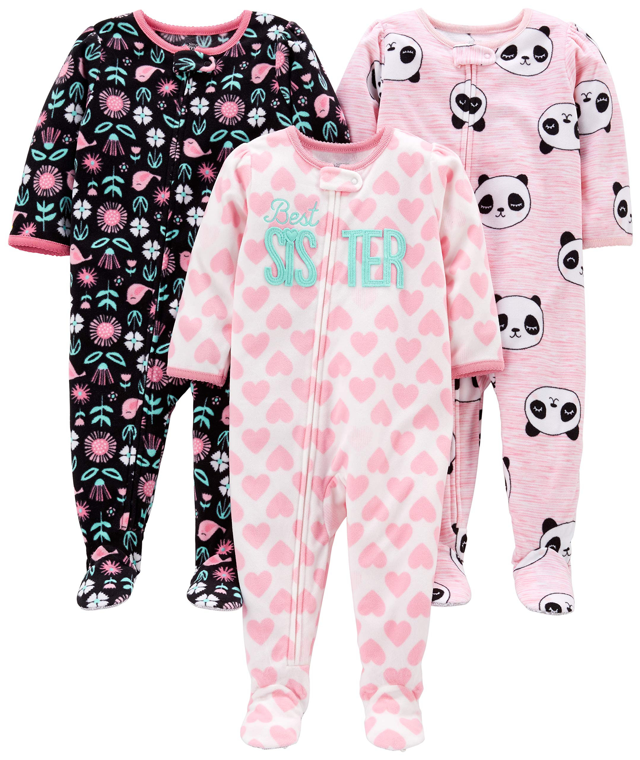 50e043d3ff5d Simple Joys by Carter's Girls' 3-Pack Loose Fit Flame Resistant Fleece  Footed Pajamas, Sister/Panda/Floral, 12 Months
