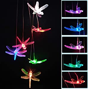 LED Solar Dragonfly Wind Chimes Light Changing Colors Outdoor - Waterproof Solar Powered Dragonflies Mobile Romantic Wind-Bell Gifts for Home, Party, Xmas Decor, Night Garden Decoration, Gifts for Mom