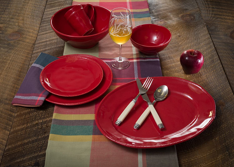 Euro Ceramica Algarve Collection Artisan-Inspired 8 Stoneware Salad//Dessert Plates Green Set of 4