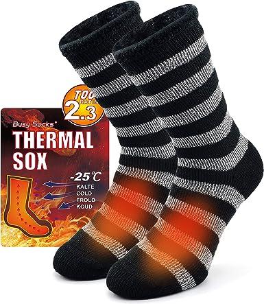 LADIES THERMAL SOCKS BLACK WINTER WARM WOMEN KNEE LENGTH  HEAT CONTROL PACK OF 2