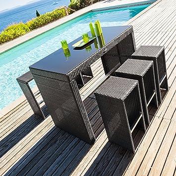 Hesperide - Table haute + 6 tabourets tinos ratan: Amazon.fr: Jardin