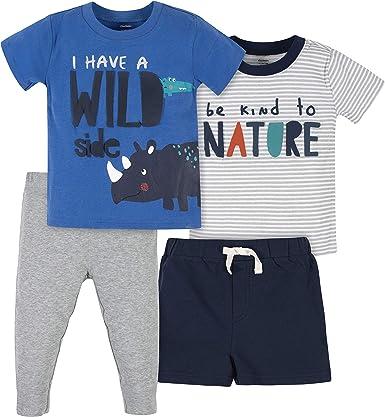 Gerber Baby Boys 4-Piece Short Shirts and Active Pant Set