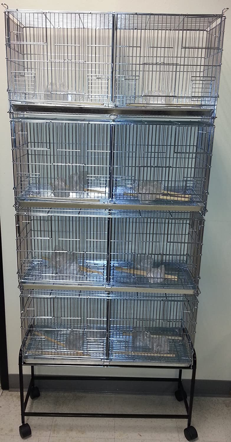COMBO: Stack and Lock Double Breeder Cage Bird Breeding Cage With Removable Divider And Breeder Doors 4 Of 26.5 x 11 x 15H Cages *Galvanized* And One Stand Black Mcage