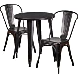 Flash Furniture 24 Round Black Antique Gold Metal Indoor Outdoor Table Set