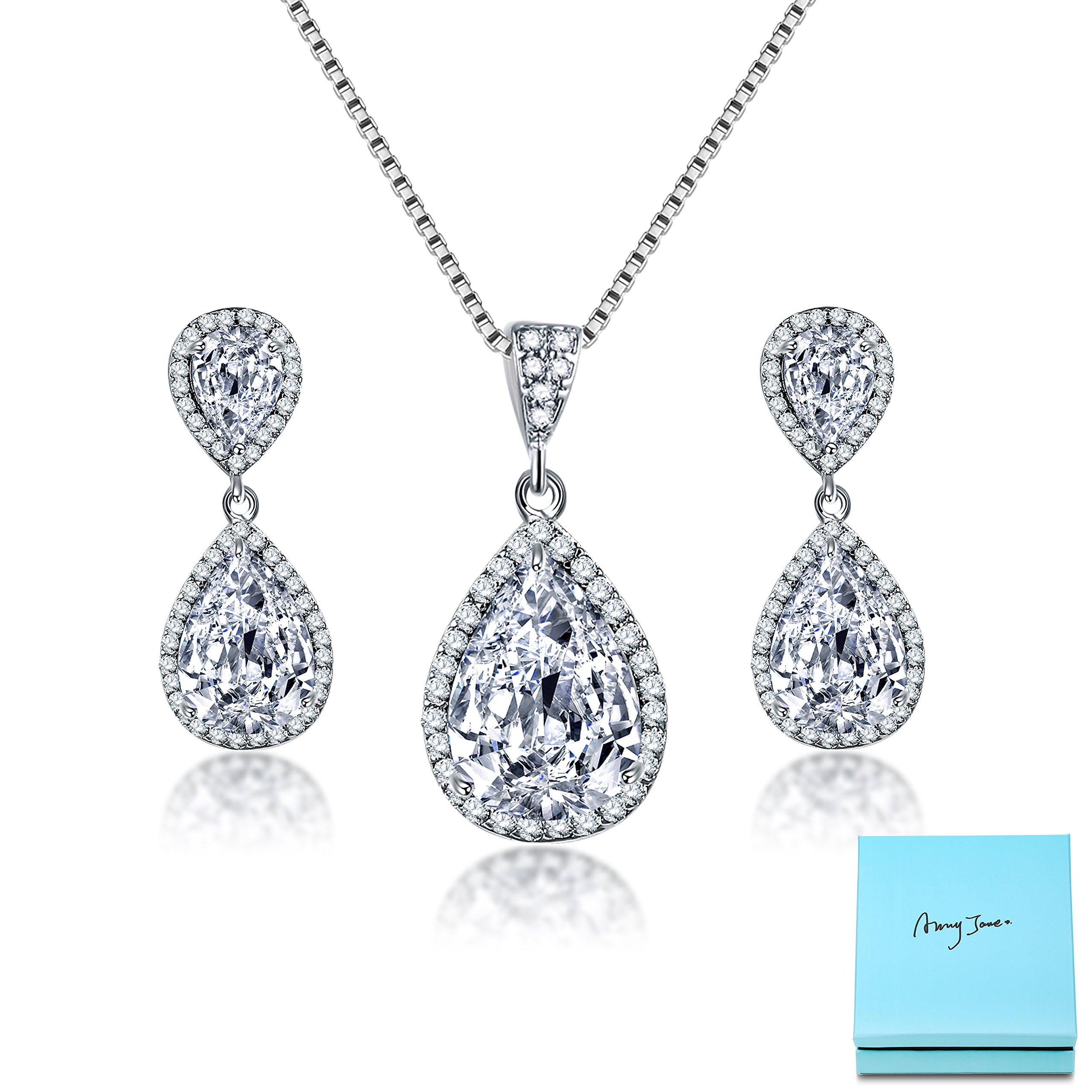 AMYJANE Crystal Jewelry Set for Women Charming Pear-Shape Sterling Silver Full Cubic Zirconia Bridal Pendant Necklace Dangle Earrings Set for Prom Party Wedding Jewelry Set for Bride Bridesmaids