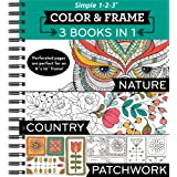 Color & Frame - 3 Books in 1 - Nature, Country, Patchwork (Adult Coloring Book)