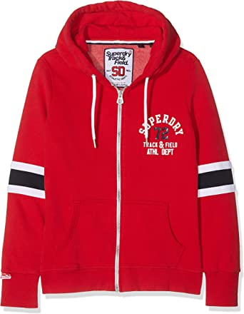 Superdry Sweat Track Et Field ZH Rouge Femme