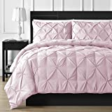 Double Needle Durable Stitching Comfy Bedding 3-piece Pinch Pleat Comforter Set All Season Pintuck Style (King, Pink)