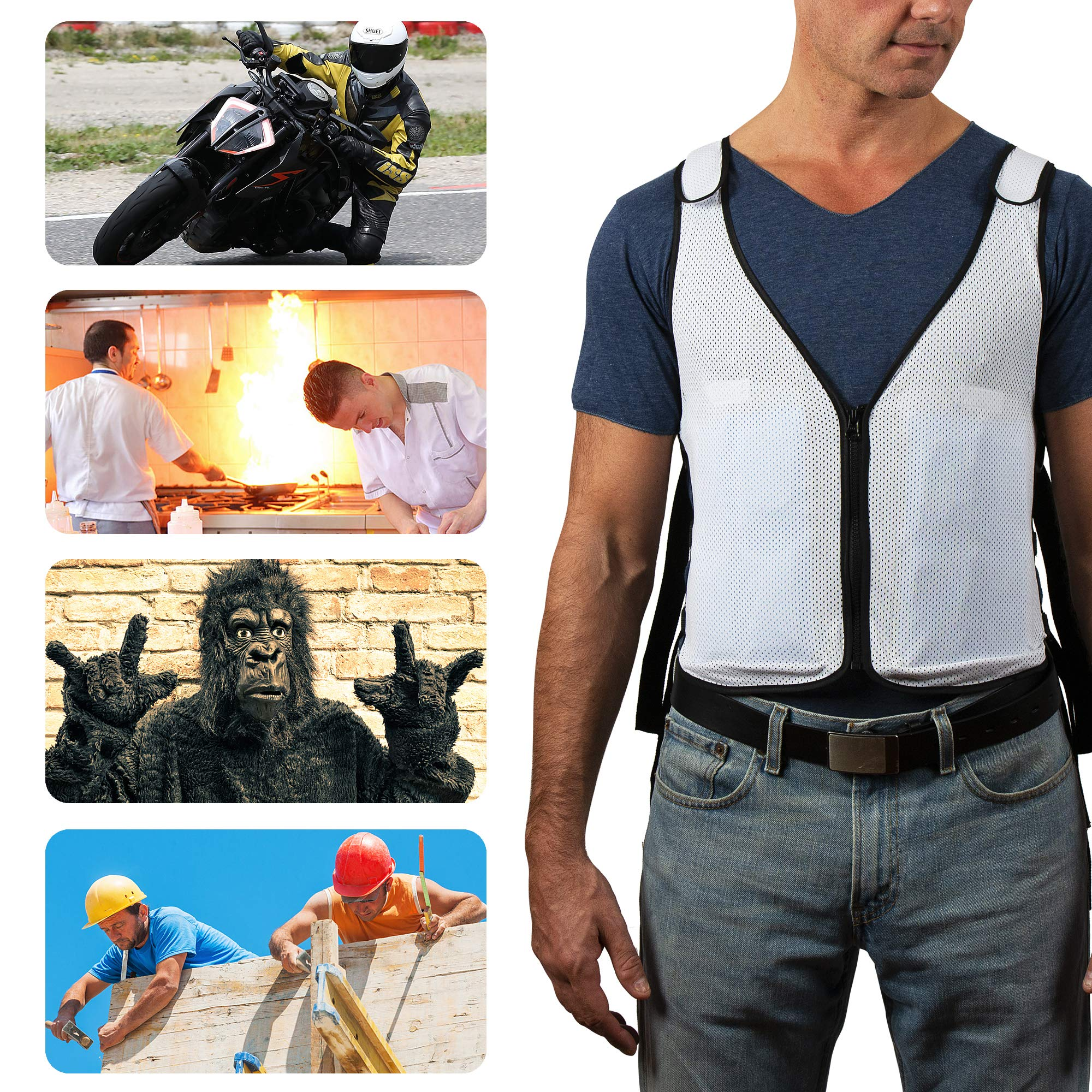New Home Innovations Cooling Vest | Ice Vest - 8 x Body Ice Packs for Double Cooling Time - #1 Ice Cooling Vest for MS - Sport - Motorcycle - Cooking - Mascot - Cosplay Adjustable Cooling Shirt by New Home Innovations (Image #2)