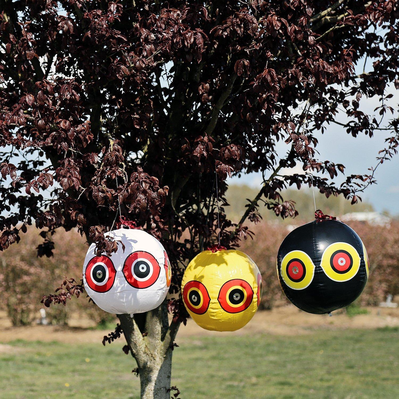 amarillo + negro + blanco SEICOSY Scary ojo globos repelente al p/ájaro PEGION /& Sparrow deterrnet Ahuyentador de aves globo Pack de 3/