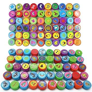 100pcs Grabados y Sellos Smiley Animales Lavable Almohadillas Conjunto de Juguete Tinta Estampa - Bolsas Chuches Cumpleaños, Piñatas Juego Profesores ...