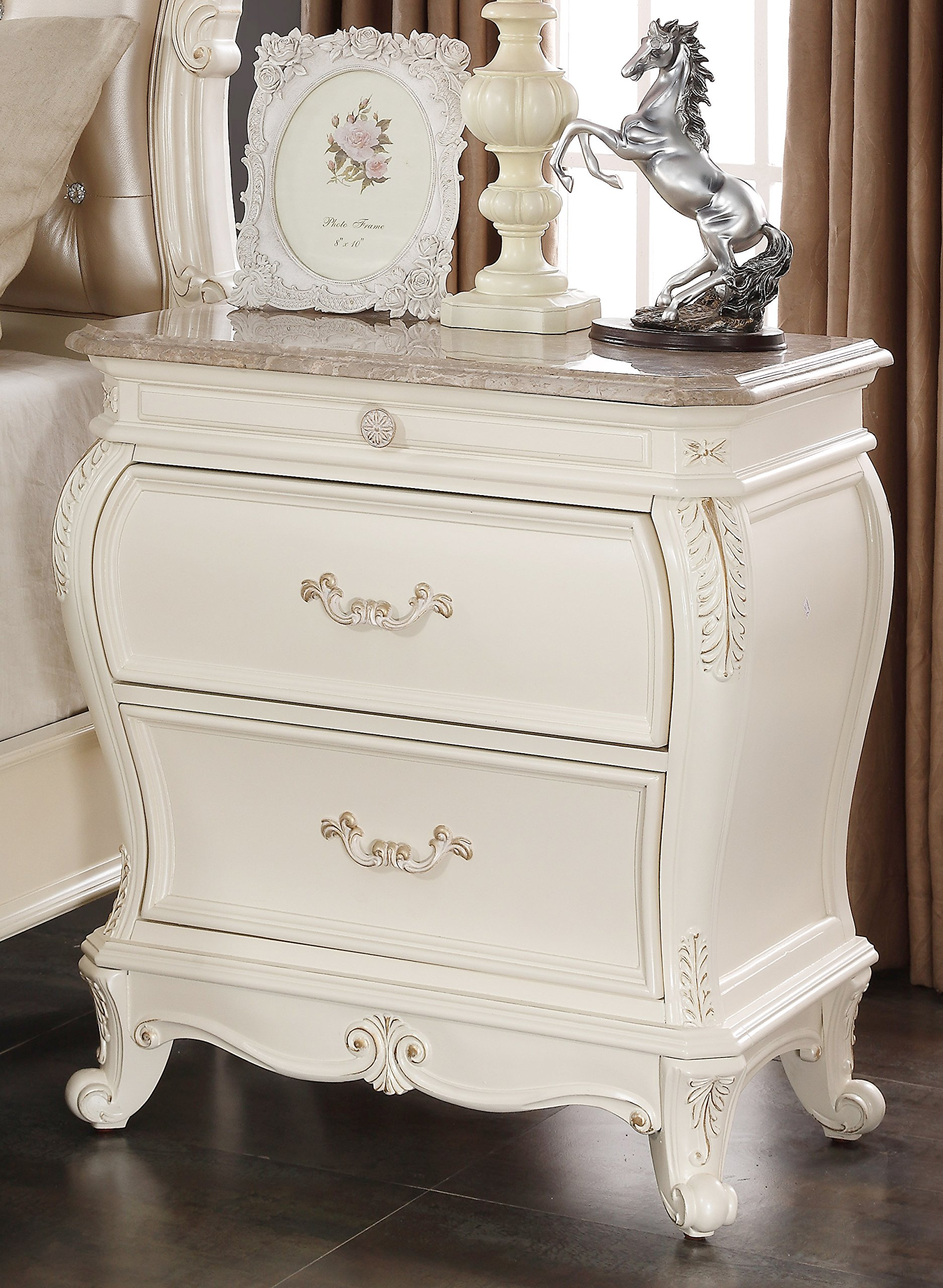 Meridian Furniture Marquee Solid Wood 2 Drawer Nightstand with Traditional Hand Carved Designs and Genuine Marble Top, Pearl White Finish With Gold Accents by Meridian Furniture