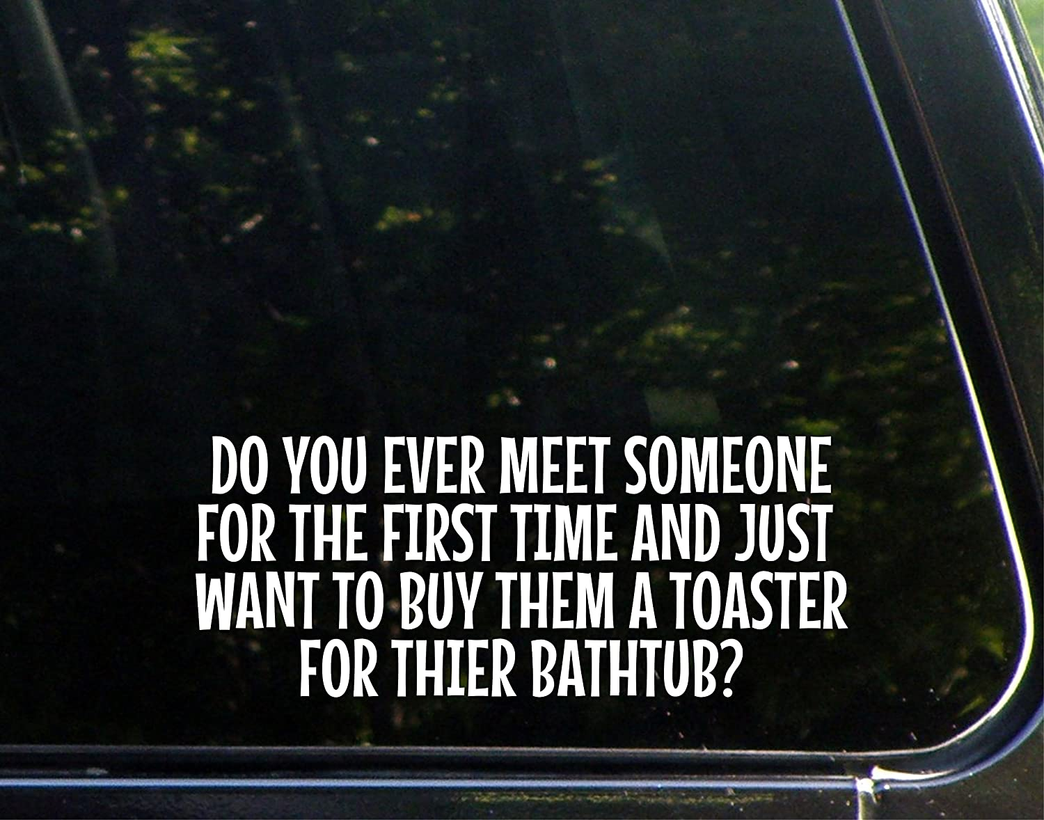 """Do You Ever Meet Someone For The First Time And Just Want To Buy Them A Toaster For Their Bathtub (8-3/4"""" x 3-1/2"""") Die Cut Decal Bumper Sticker For Windows, Cars, Trucks, Etc."""