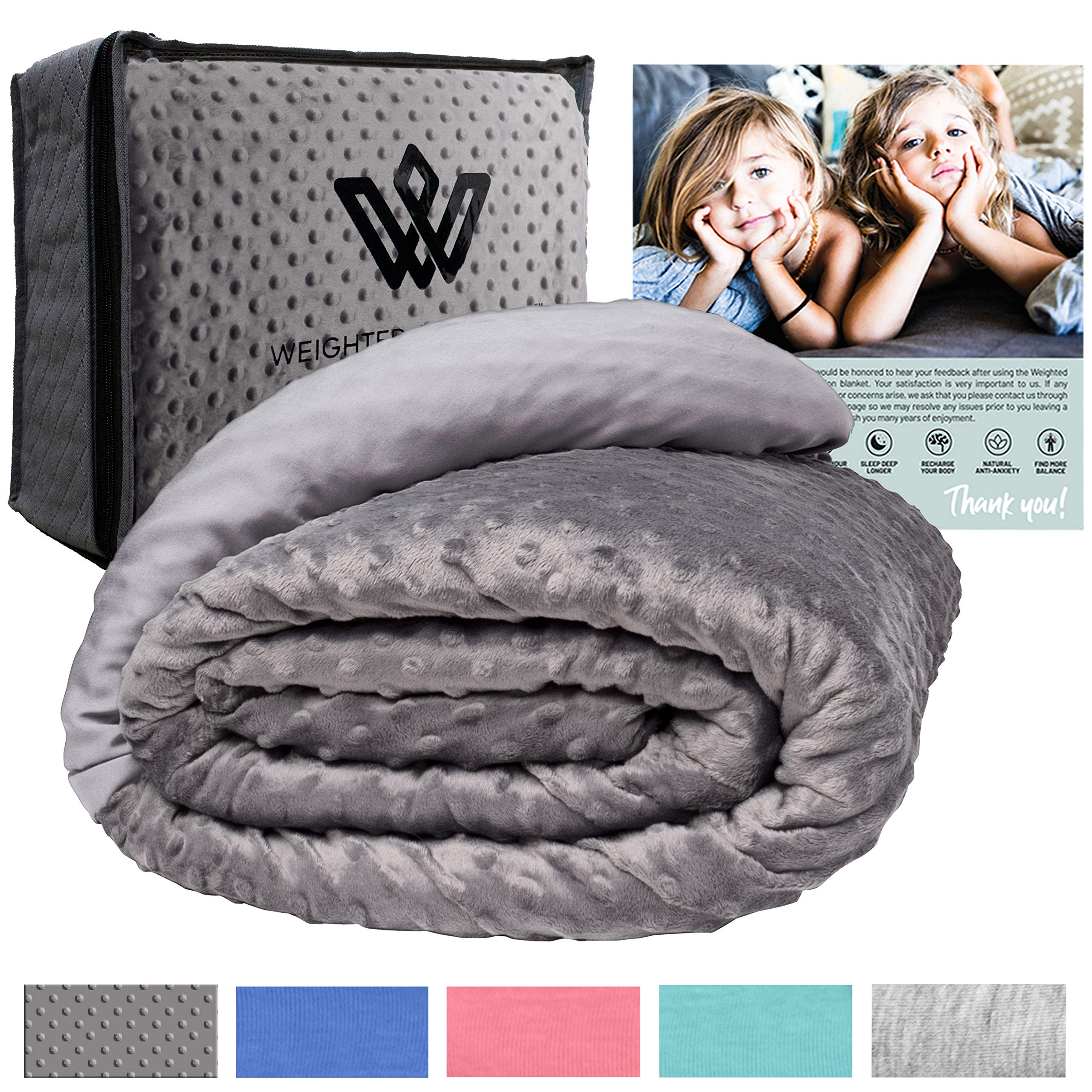 Weighted Evolution Weighted Blanket for Kids + Organic Bamboo Lyocell/Sensory Dot Cover Best Blanket for Kids-Hypoallergenic Warm Cooling Calm Cozy Heavy Blanket(Minky/Bamboo, 41''x 60''| 08 lbs) by Weighted Evolution