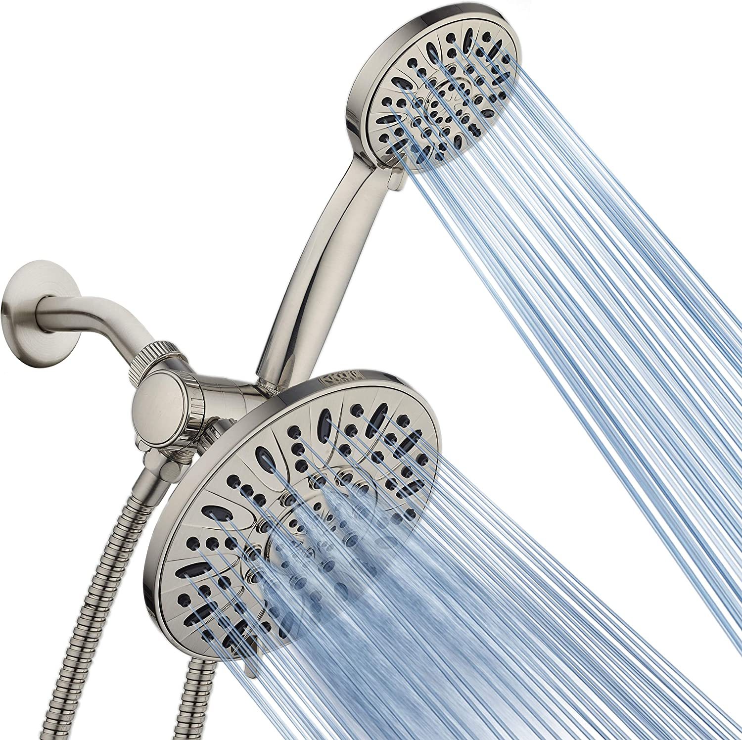 "AquaDance 7"" Premium High Pressure 3-Way Rainfall Combo for The Best of Both Worlds – Enjoy Luxurious Rain Showerhead and 6-Setting Hand Held Shower Separately or Together – Brushed Nickel Finish"