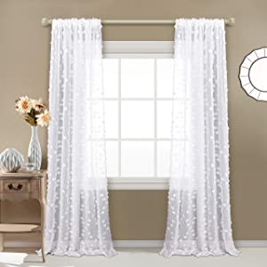 "MYSKY HOME Pom Pom Sheer Curtains Rod Pocket Voile Sheer Drapes Window Curtains for Bedroom Living Room (2 Panels, 54"" x 84"", White)"