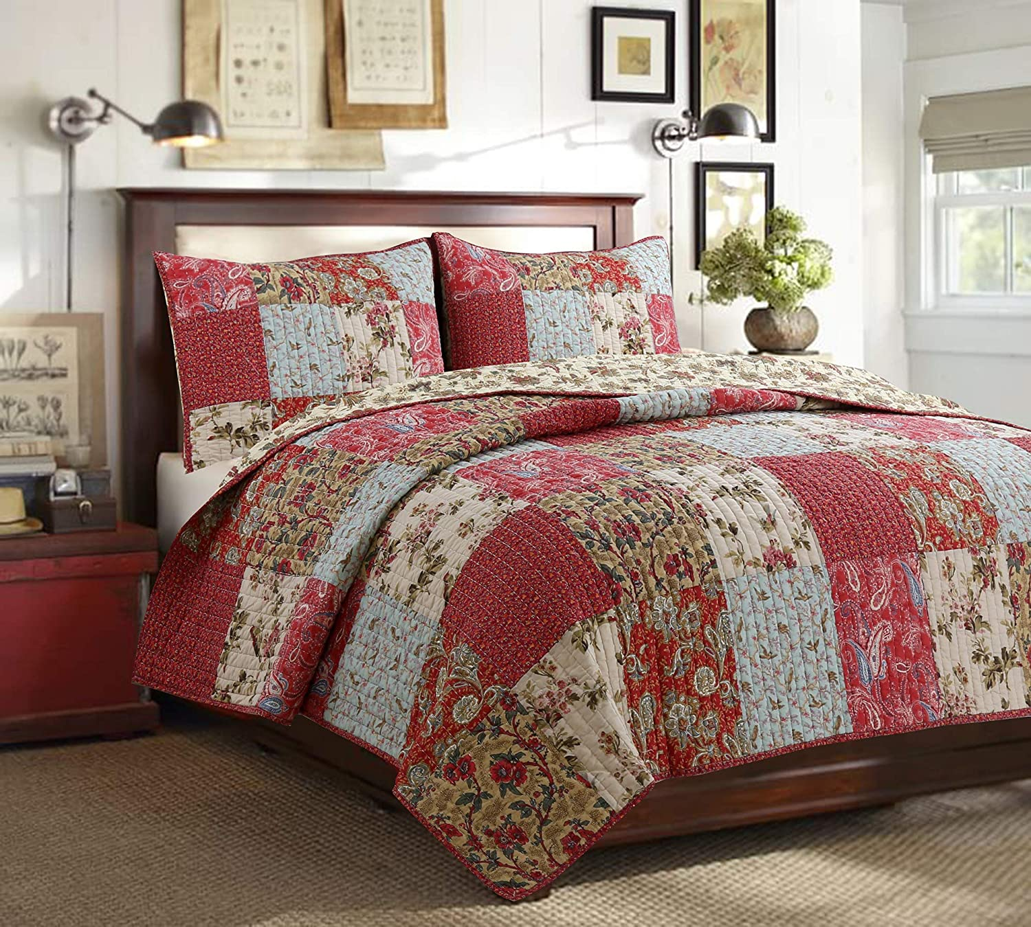 Reversible Coverlet Bedspread Quilt Bedding Set for Women (Red Aqua, Queen - 3 Piece)