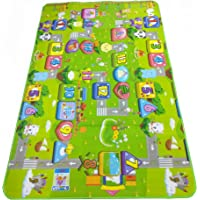 LooMantha® 100% Waterproof, Anti-Skid, Double Sided Baby Play & Crawl Mat (6'X4' Feet) with a Free Carry Bag.