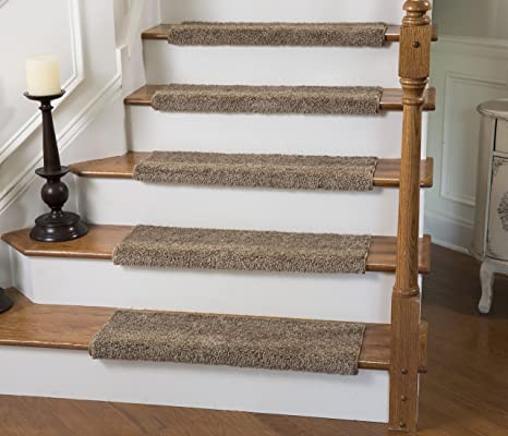 Good Caprice Bullnose Carpet Stair Tread With Adhesive Padding, By Tread Comfort  (Single 31u0026quot;