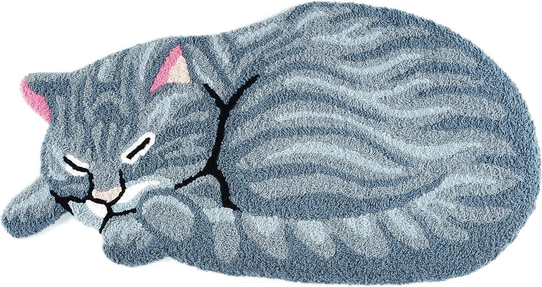 Hughapy Grey Cute Sleeping Cat Shaped Mat Bedroom Area Rug, Christmas Tabby Cat Carpet for Living Room Doorway, 33.5 by 18 Inch