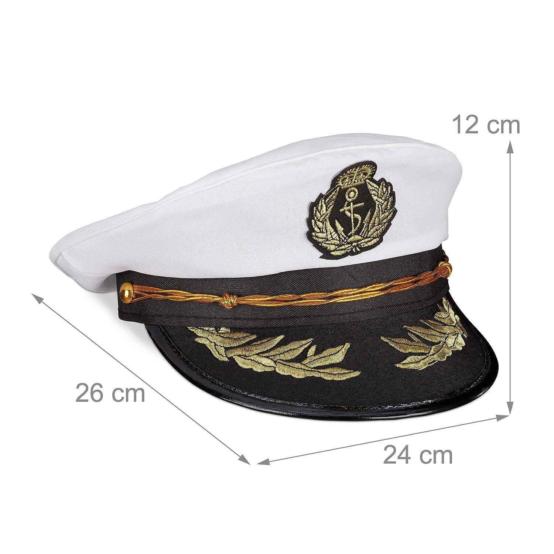 Offiziersm/ütze Damen /& Herren Relaxdays Kapit/änsm/ütze wei/ß//schwarz Einheitsgr/ö/ße Kopfbedeckung Fasching /& Karneval