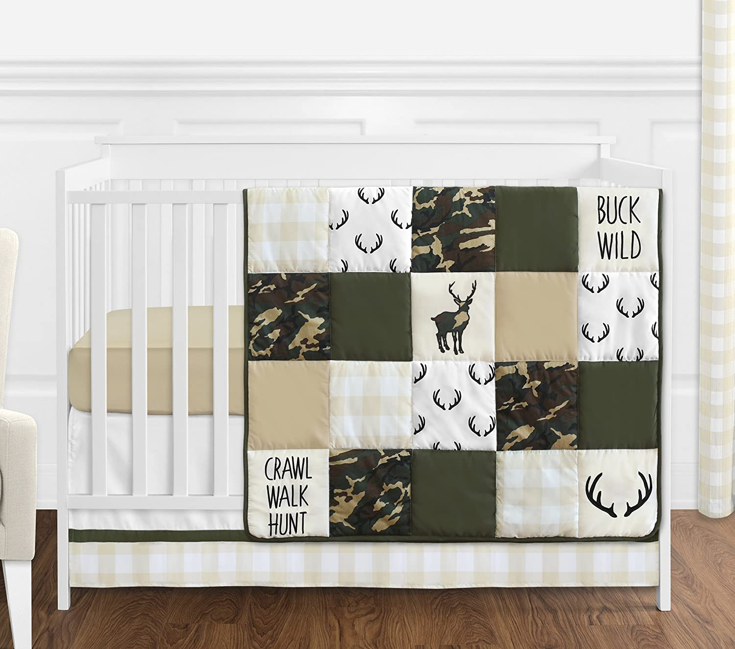 Sweet JoJo Designs Green and Beige Deer Buffalo Plaid Check Woodland Camo Baby Boy Crib Bedding Set Without Bumper - 4 Pieces - Rustic Camouflage