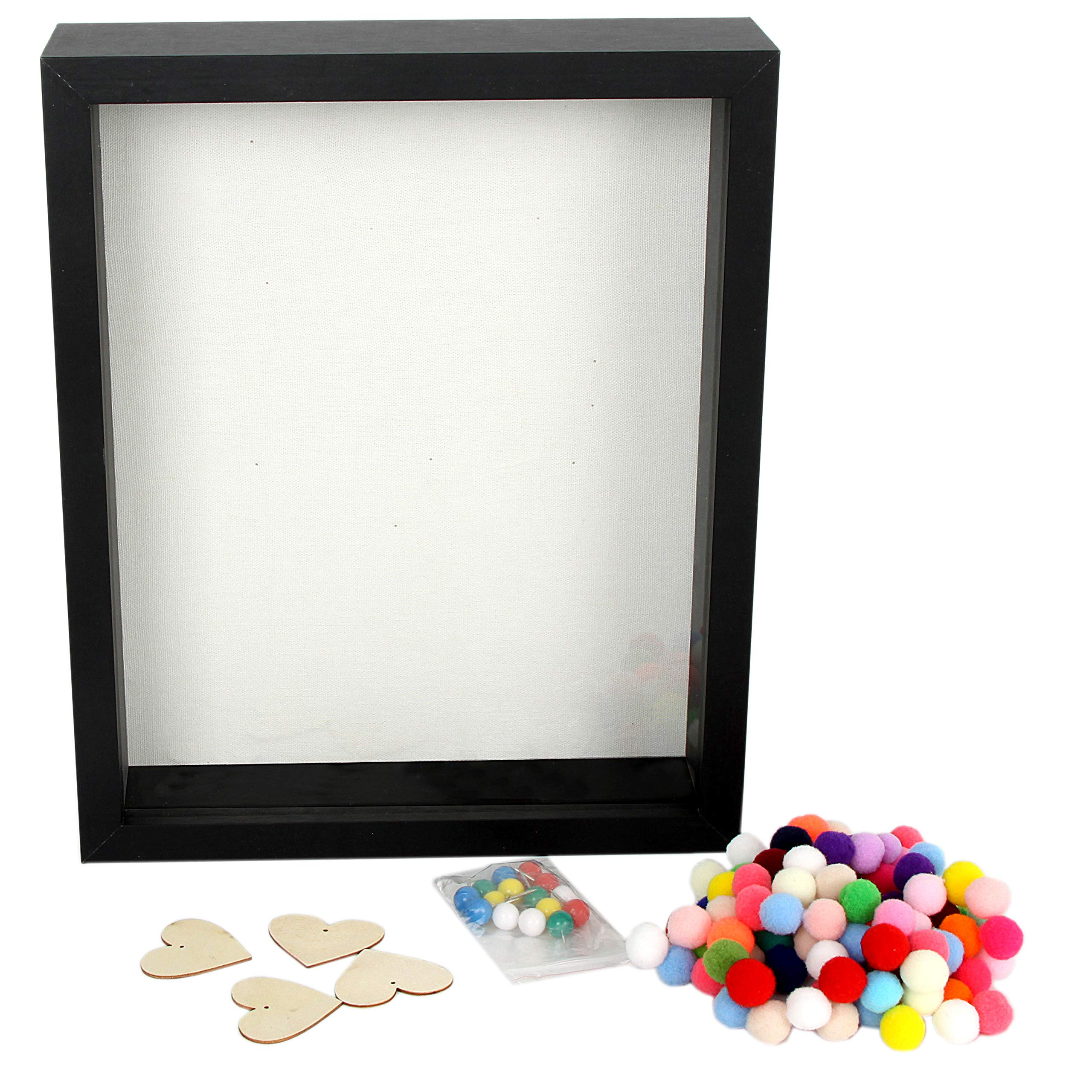 DiamondDec Shadow Box Frame Display Case 8x10 Black with Soft Linen Back, 3-D Wood Deep Large Shadowbox Picture Frame for Wedding Memorabilia, Adventure Tickets, Medals,  Travel Keepsake and more by DiamondDec