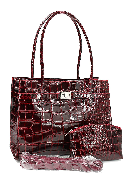 klassische ital. Leder Handtasche Schultertasche dunkel bordeaux rot lack Kroko Prägung - 35x27x15 cm (B x H x T) Belli OtWbKI