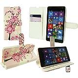 Emartbuy® Microsoft Lumia 435 / Lumia 435 Dual Sim Premium Funda Wallet Soporte Carcasa Case Cover PU Cuero Rosa Blossom con Tarjeta de Crédito Slots