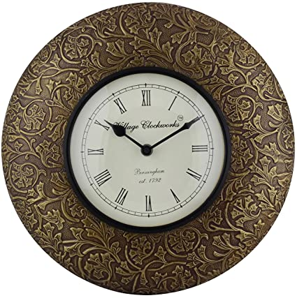 Buy Swagger 12 Inches Brass Leaves Designer Wall Clock Vintage