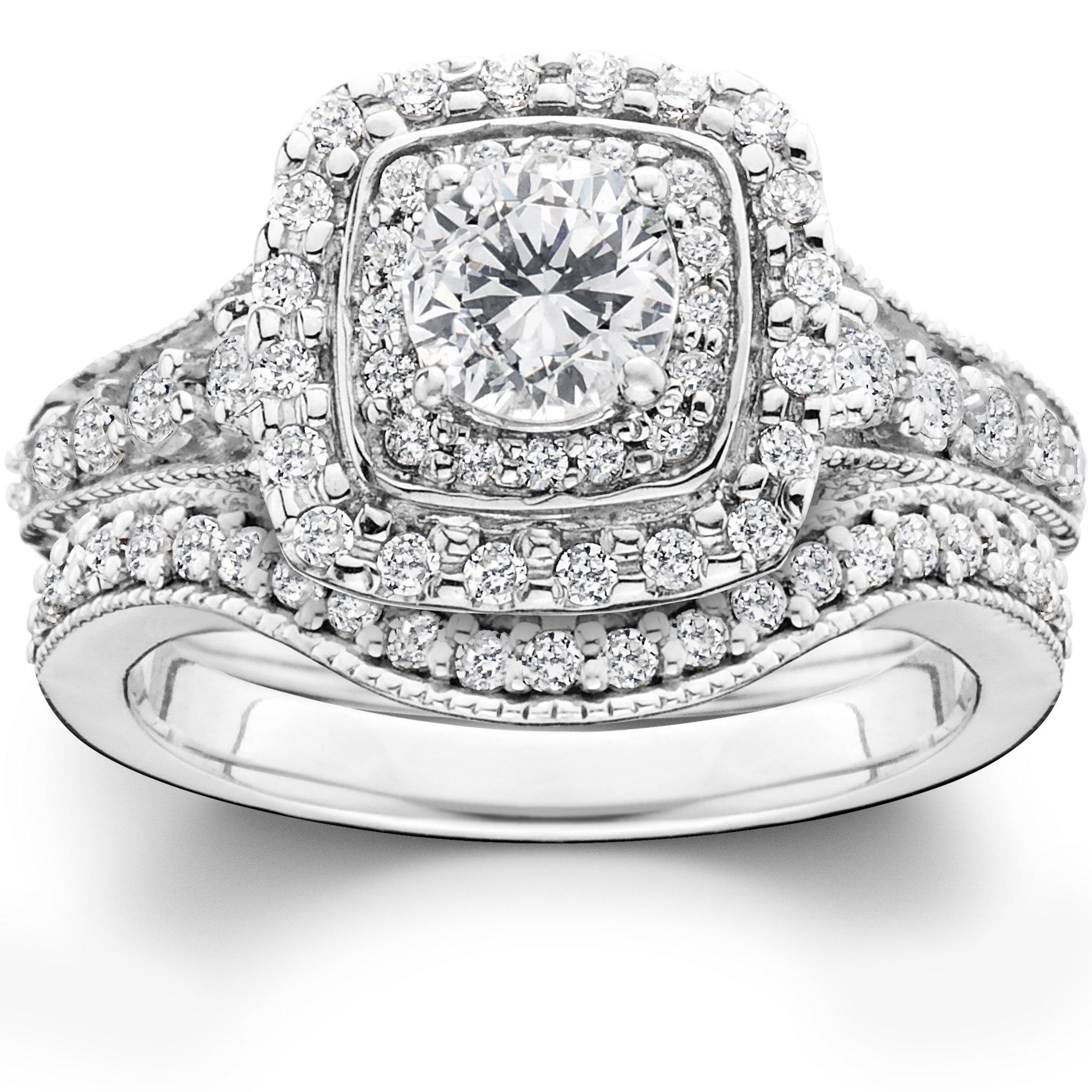 1 3/4ct Double Halo Vintage Style Engagement Wedding Ring Set 14K White Gold