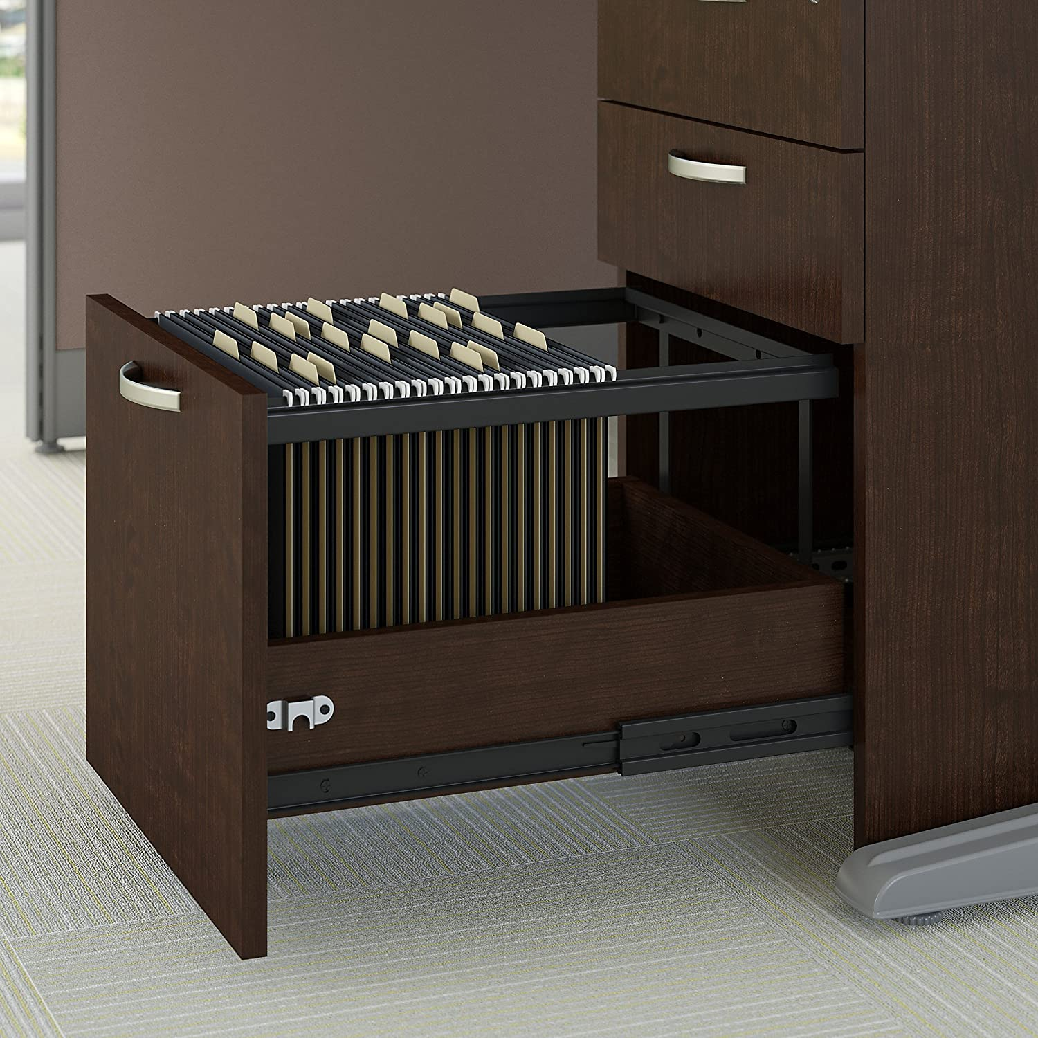 Office in an Hour U Shaped Reception Desk with Storage in Mocha Cherry