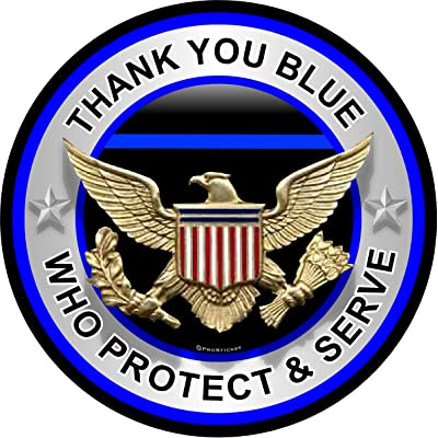 "ProSticker 306 (One) 4"" Patriot Series Thank You Blue Who Protect and Serve Thin Blue Line Support Decal Sticker: Automotive"