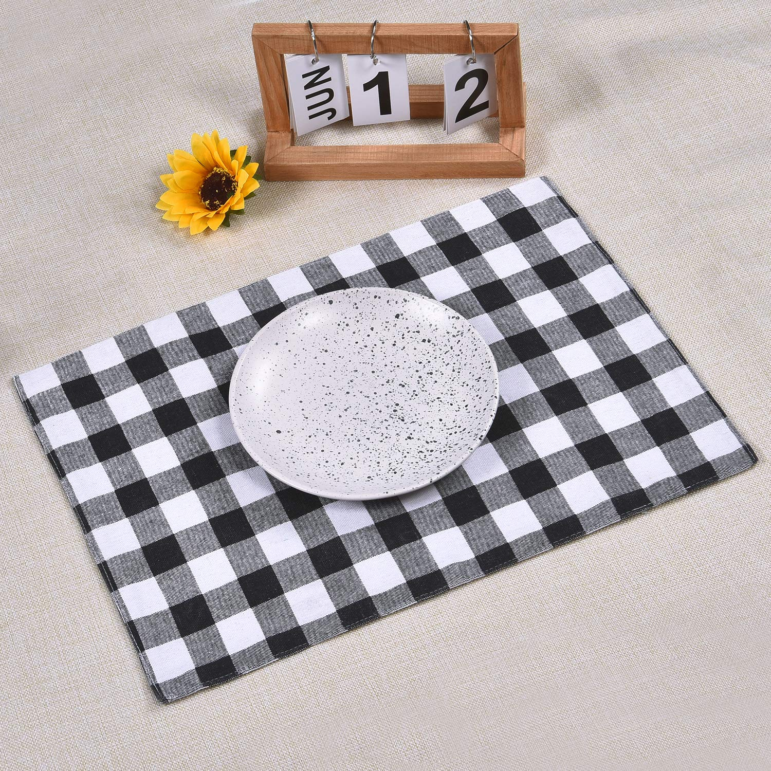 12x18 Inches Sunlightfree Trellis Placemats Geomertic Black /& White Checked Rectangle Cotton and Linen Table Place Mats Set of 4