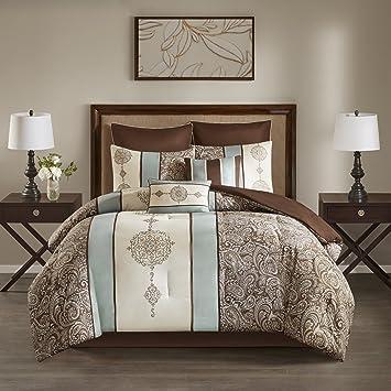 Amazon.com: PH 8 Piece California King Blue, Ivory & Taupe ...