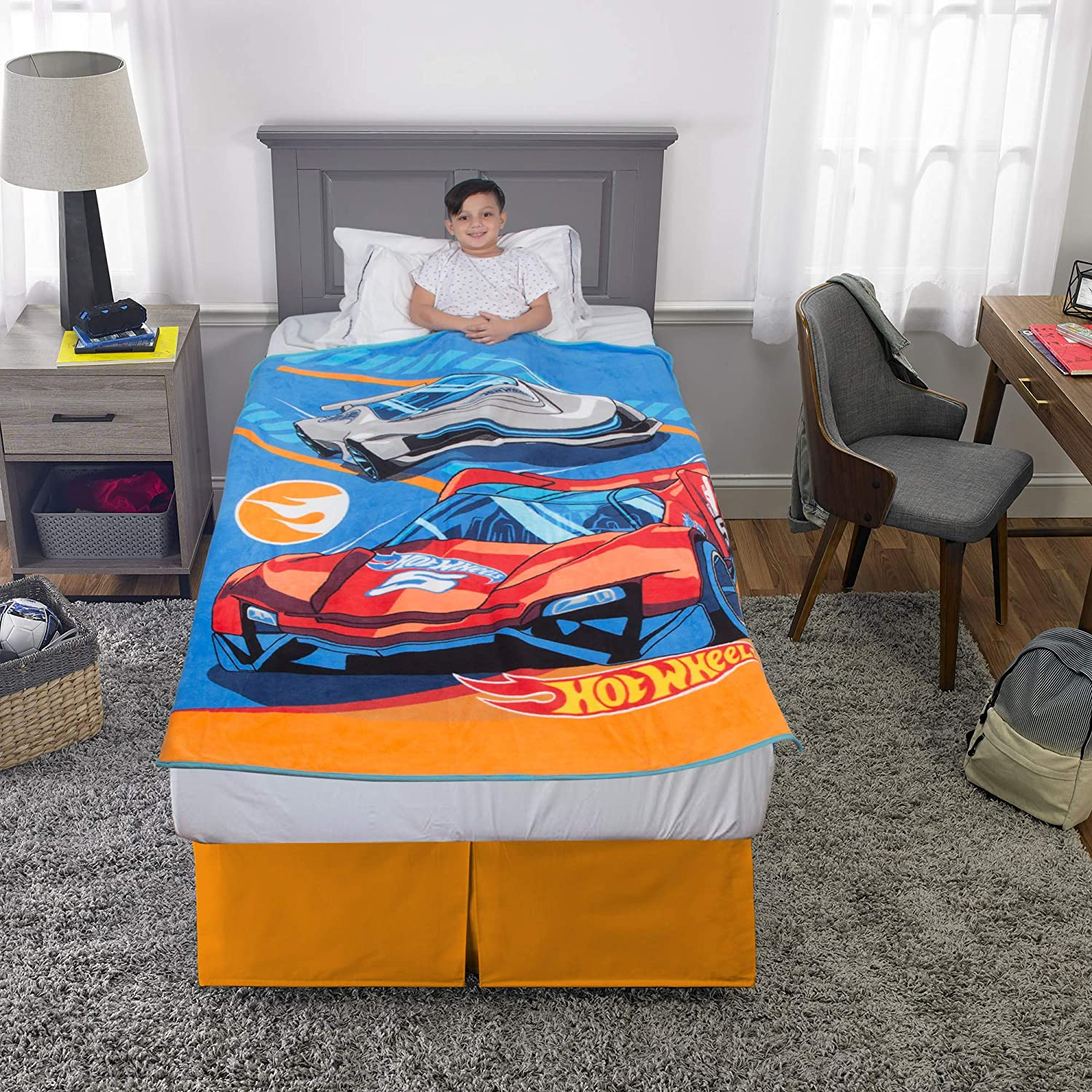 "Franco Kids Bedding Super Soft Plush Throw, 46"" x 60"", Hot Wheels"