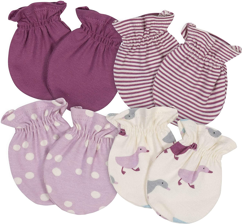 Grow by Gerber Baby Girls Organic 4-Pack Mittens