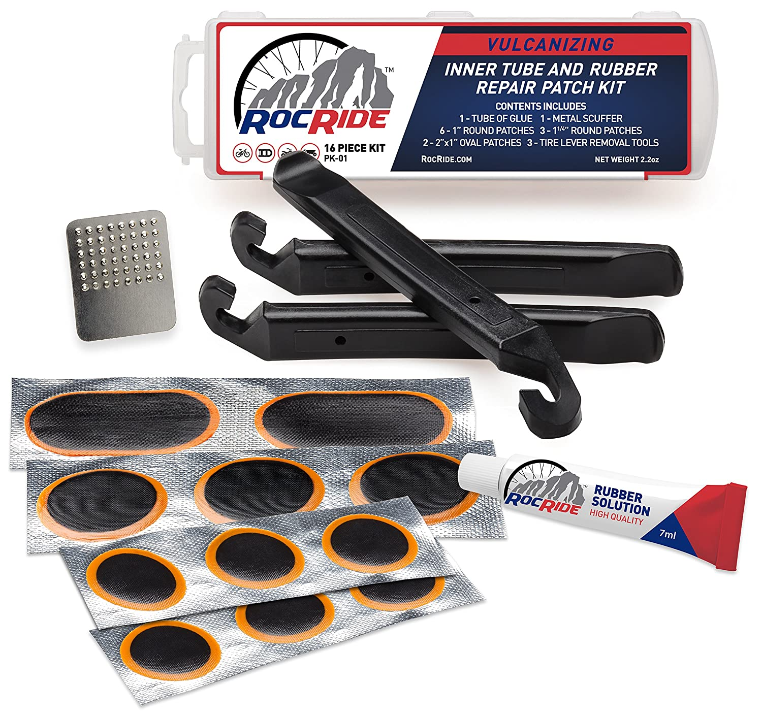 RocRide 16-PC Inner Tube Patch Bicycle Repair Kit. Also for Inflatable Dinghies, ATVs, BMX and Motorcycles Nine40e Corp