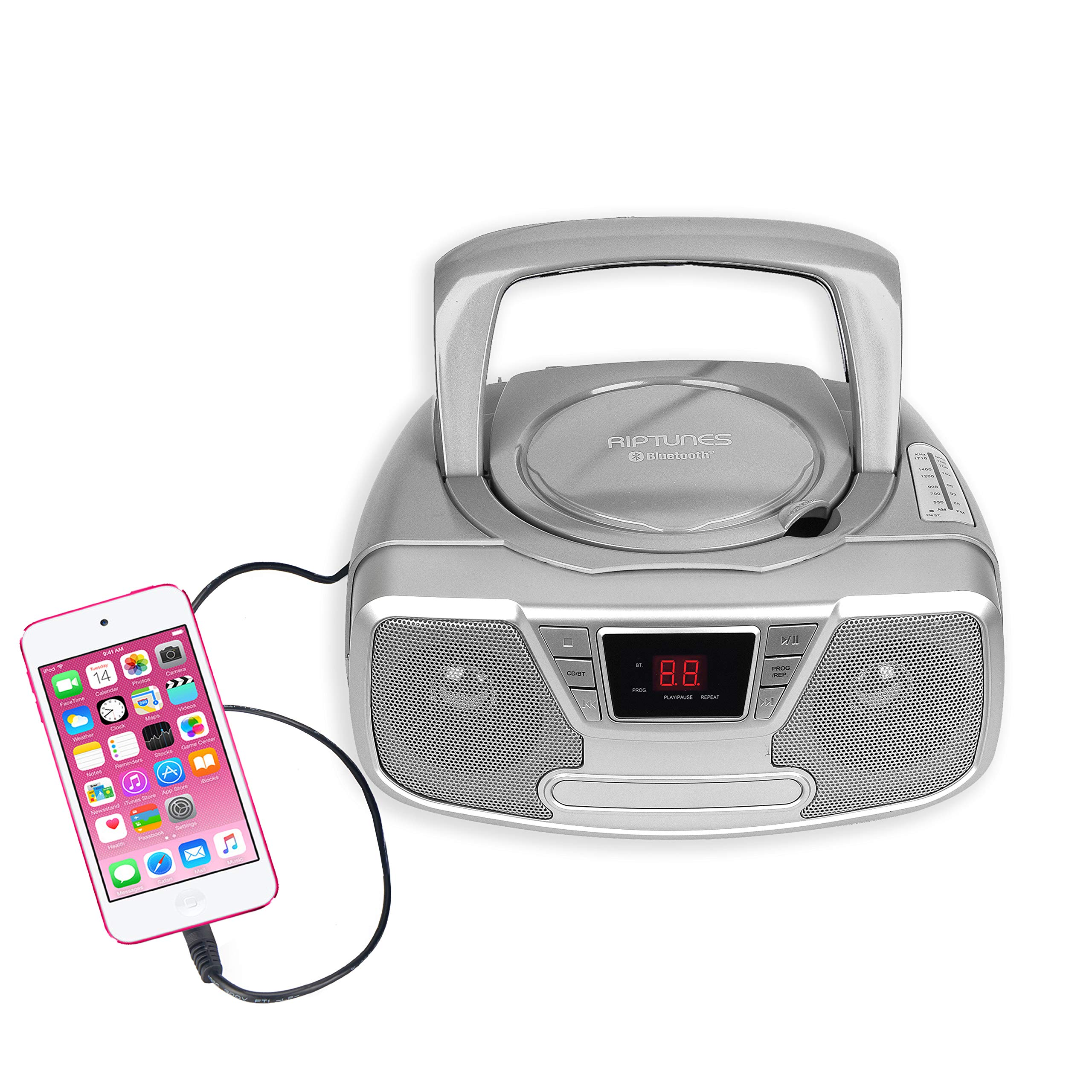 Riptunes Programmable CD Boombox- Portable Boombox, AM/FM Radio, with Bluetooth Silver CDB232BT