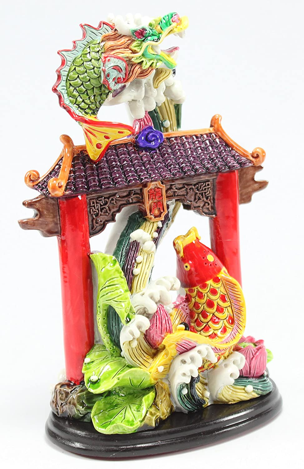 Dragon Gate Waterfall LY027 Feng Shui Dragon Gate Waterfall for Courage Achievement Success /& Perseverance Statues Figurine Wealth Lucky Figurine Home Decor Gift US Seller