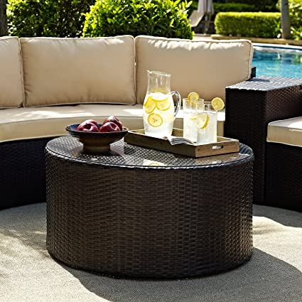Care 4 Home LLC All Weather Wicker Coffee Table Round Shape Large Tempered  Glass Table Top