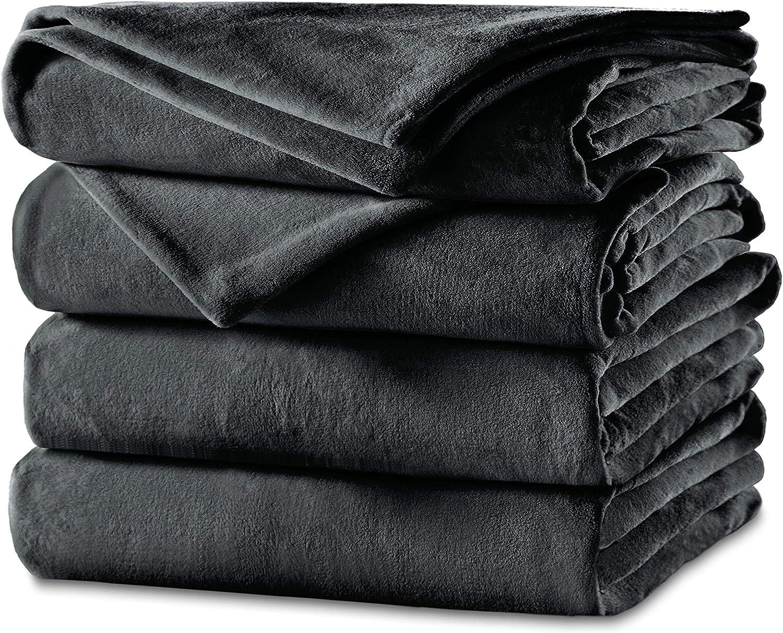 Sunbeam Heated Blanket | Twin Size Cozy Feet | Soft Velvet, 2 Customizable Heat Zones (Body, Feet) with 25 Heat Settings, Preheat, and Auto-Off | Slate Grey