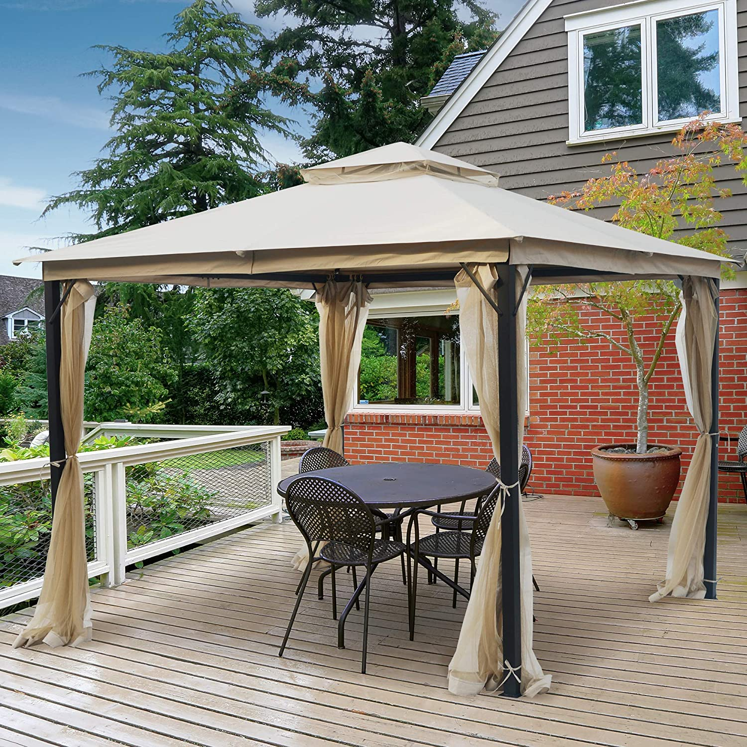 AsterOutdoor 10x10 Outdoor Gazebo for Patios Canopy for Shade and Rain with Mosquito Netting, Soft Top Metal Frame Gazebo for Lawn, Backyard and Deck, 99% UV Rays Block, CPAI-84 Certified, Beige