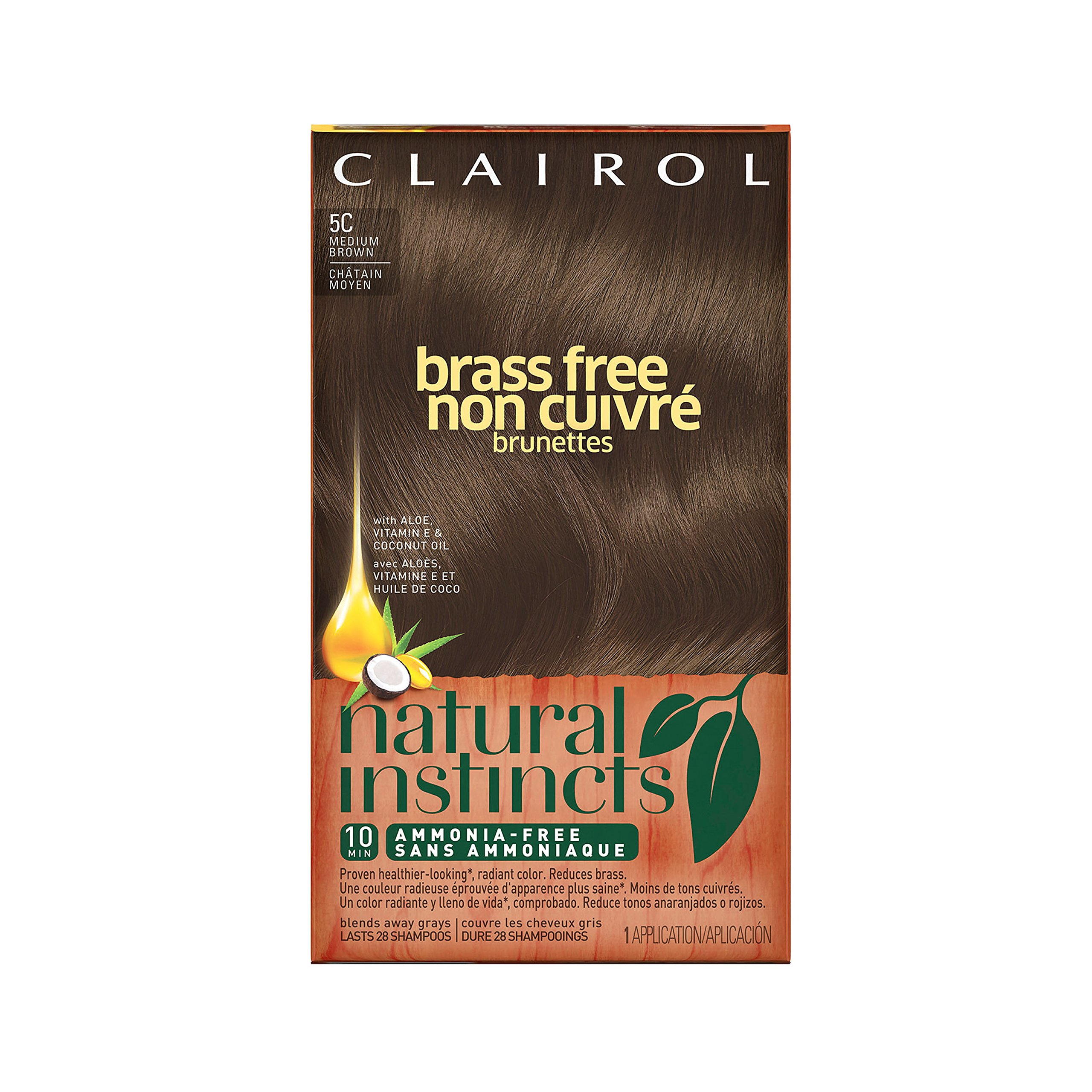 Clairol Natural Instincts Semi-Permanent Hair Color (Pack of 3), 5C Brass Free Medium Brown Color, Ammonia Free, Lasts for 28 Shampoos by Clairol (Image #1)