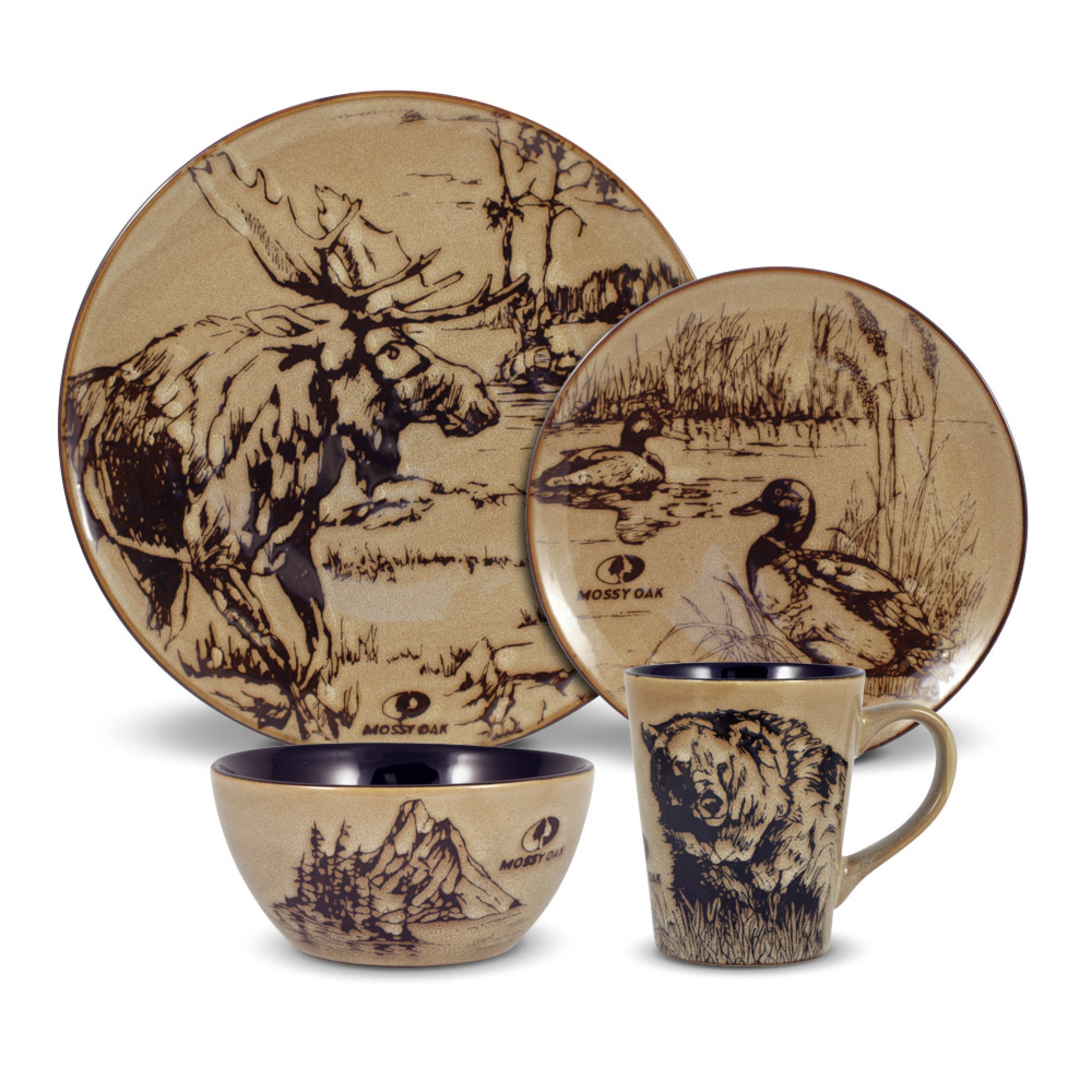 Mossy Oak 5137679 Animal Print Dinnerware Set, Assorted