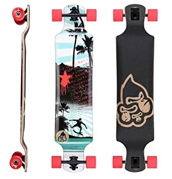STAR-SKATEBOARDS® Premium Longboard de arce canadiense Drop Down Flush Cut Longboard &#